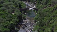 Aerial corsica bridge river Stock Footage