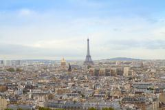 skyline of paris with eiffel tower - stock photo
