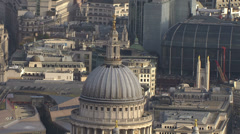 Aerial view above St. Paul's Cathedral in London Stock Footage