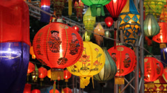 Asian lanterns in lantern festival - stock footage