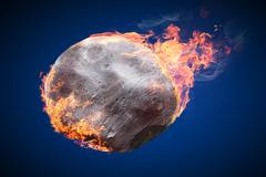 Stock Illustration of Illustration of an asteroid burning in atmosphere on dark blue background