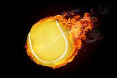 Tennis ball on fire flying down - illustration Stock Illustration