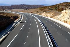 motorway landscape - stock photo