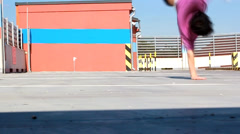 Breakdancer on the parking Stock Footage