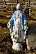 grave marker mother mary - stock photo