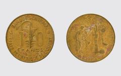 10 francs Togo - stock photo