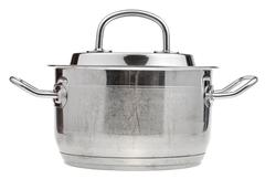 Small stainless steel saucepan covered metal lid Stock Photos