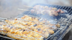 Chicken cooking on a barbecue grill Stock Footage