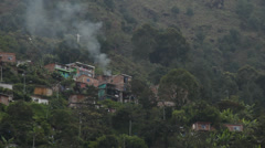 Houses on mountain in Colombia Stock Footage