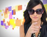 Stock Illustration of Elegant brunette wearing sunglasses pointing at camera