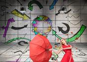 Stock Illustration of Surprised glamour woman holding a broken umbrella