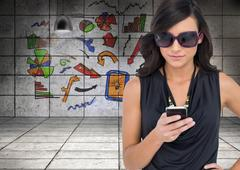 Concentrated brunette wearing sunglasses texting - stock illustration