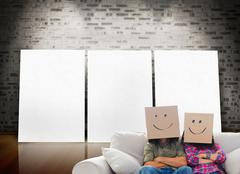 Silly employees with arms folded wearing boxes on their heads Stock Illustration