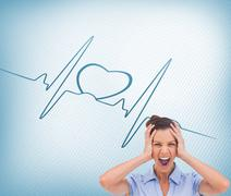 Stock Illustration of Stressed businessswoman with hand on her head