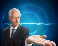 Concentrated businessman with palm up Stock Illustration