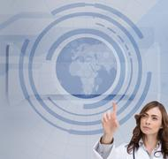 Concentrated doctor pointing at holographic globe Stock Illustration