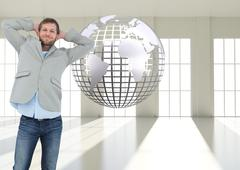 Stock Illustration of Composite image of man in a blazer with hands behind head looking at camera