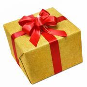 Gold gift box with smart red bow Stock Photos