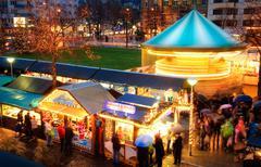 activities at christmas market - stock photo