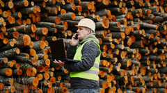Forest employee near stacks of logs episode 3 Stock Footage