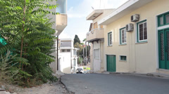 Narrow streets with old small buildings are in Paphos, Cyprus Stock Footage