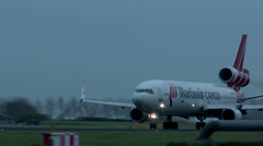 4K Martinair take off at dusk Stock Footage
