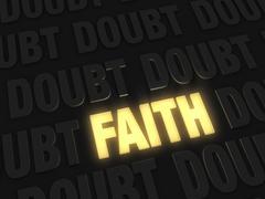 faith, a light amidst  doubt - stock illustration