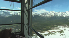 Air Tram Interior, Snowy Mountain Anchorage Alaska Pan Stock Footage