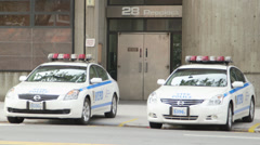 New York City 28th Precinct with Police Cars Stock Footage