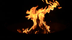 Fire Flames at night Close up Stock Footage