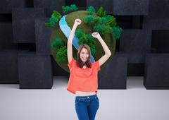 Stock Illustration of Composite image of teenage wearing casual clothes while raising her arms