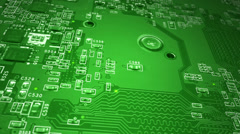 Green Circuit Board Dolly Shot Stock Footage
