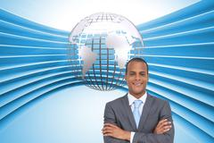 Composite image of young businessman with arms crossed - stock illustration