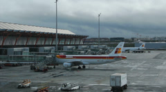 Barajas Airport - Madrid, Spain 12 - Timelapse. Airfield, Cargo, Maintenance Stock Footage