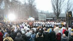 Starvation ceremony near Holodomor monument in Kiev, Ukraine. Stock Footage
