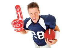 Football: player with foam finger and ball Stock Photos