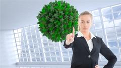 Composite image of businesswoman pointing somewhere Stock Illustration