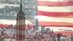 Stock Video Footage of New York City with American Flag