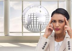 Composite image of businesswoman putting her fingers on her temples Stock Illustration