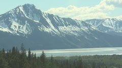 Air Tram Interior, Snowy Mountain in Anchorage Alaska Stock Footage