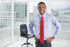 Elegant smiling Afro businessman standing in office - stock photo