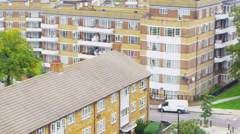 High angle view of a residential area in a suburb of London, UK Stock Footage