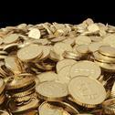 Golden bitcoin coins on balck Stock Illustration