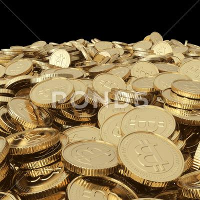 Stock Illustration of golden bitcoin coins on balck