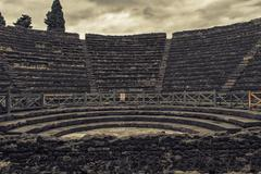 Ruins of a small amphitheater in Pompeii, Italy Stock Photos