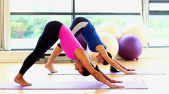 Slender fit women doing yoga on exercise mats Stock Footage