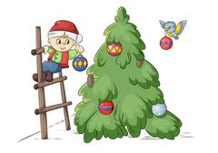 christmas tree decoration - stock illustration