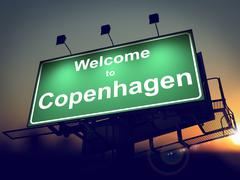 Billboard Welcome to Copenhagen at Sunrise. - stock illustration