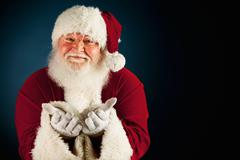 santa: welcoming santa and copyspace - stock photo