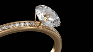 Stock Video Footage of Golden Ring with Diamonds